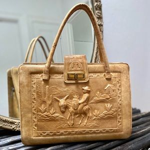 VNTG Mexican Hand Tooled Leather Handbag